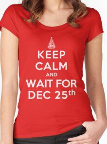 Keep Calm and Wait For Dec. 25th (DS) Women's Fitted Scoop T-Shirt