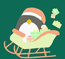 Penguin in Sleigh #5 by simplepaperplan