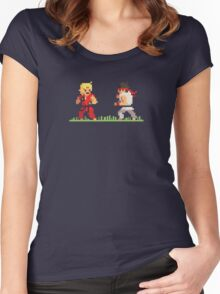 "Pixel Fighter ""Ken vs Ryu"" Women's Fitted Scoop T-Shirt"