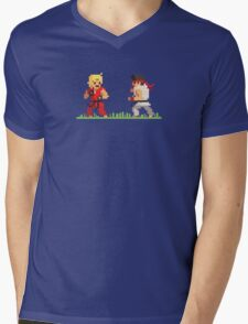 "Pixel Fighter ""Ken vs Ryu"" Mens V-Neck T-Shirt"