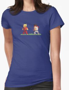 """Pixel Fighter """"Ken vs Ryu"""" Womens Fitted T-Shirt"""