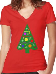 Tree 3 Women's Fitted V-Neck T-Shirt