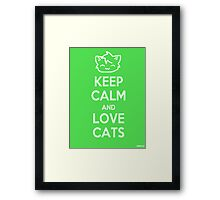 Keep Calm and Love Cats (Green) Framed Print