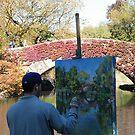 An Artist, A Painting, A Bridge, Central Park, New York  by lenspiro