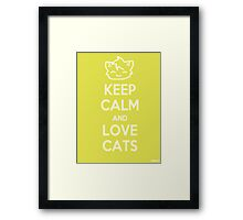 Keep Calm and Love Cats (Yellow) Framed Print