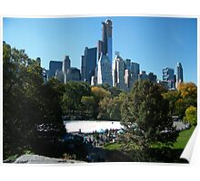 View of Central Park South Skyline,Wollman Rink, One57 Skyscraper, New York City Poster