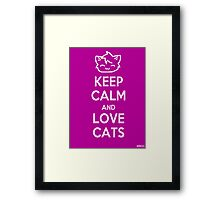 Keep Calm and Love Cats (Purple) Framed Print