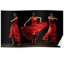 Toca Flamenco Red Triple Poster