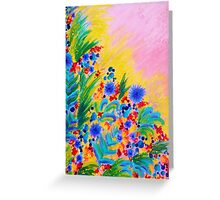 NATURAL ROMANCE in PINK - October Floral Garden Sweet Feminine Colorful Rainbow Flowers Painting Greeting Card