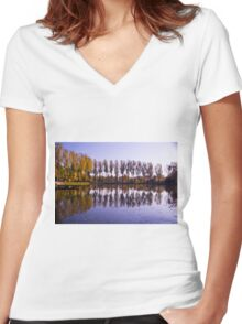 Line of Trees - Nature Photography Women's Fitted V-Neck T-Shirt