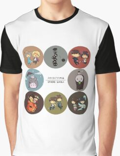 StudioGhibli Pins Graphic T-Shirt