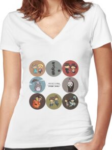 StudioGhibli Pins Women's Fitted V-Neck T-Shirt