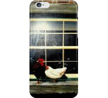 A rooster & hen on a window Ledge iPhone Case/Skin