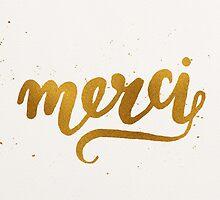 Gold Foil Hand Lettered Merci by Iveta Angelova