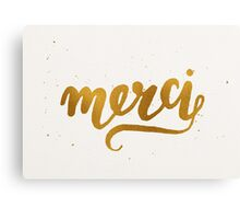 Gold Foil Hand Lettered Merci Canvas Print