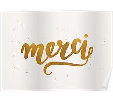 Gold Foil Hand Lettered Merci Poster