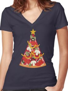 Pizza on Earth - Vegetarian Women's Fitted V-Neck T-Shirt