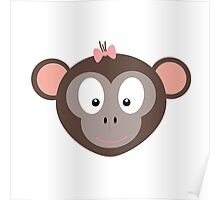 Monkey with pink ribbon Poster