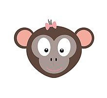 Monkey with pink ribbon Photographic Print