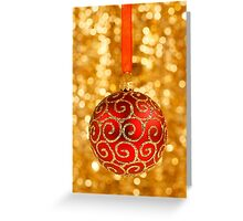 Christmas Bauble on Gold Greeting Card