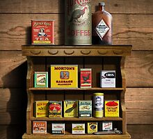 Old Fashioned Spice Rack and Spice Tins, spice Vintage Spice Tins, Nostalgic Spice Cans Art, Americana Kitchen Decor  by Walt Curlee
