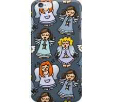 singing angels on blue iPhone Case/Skin
