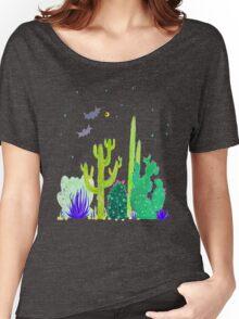Green Cacti Watercolour & Bats Women's Relaxed Fit T-Shirt