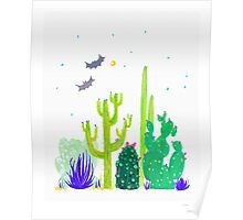 Green Cacti Watercolour & Bats Poster