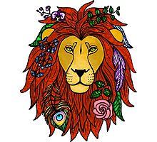 Floral Lion Head Photographic Print