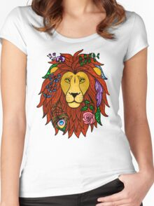 Floral Lion Head Women's Fitted Scoop T-Shirt