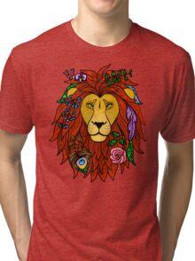 Floral Lion Head Tri-blend T-Shirt