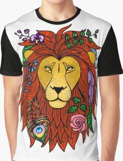 Floral Lion Head Graphic T-Shirt