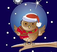 Cute Owl with Santa hat by walstraasart