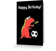 Funny Cartoon Dinosaur Soccer Black Birthday Card Greeting Card