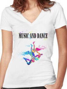 MUSIC AND DANCE Women's Fitted V-Neck T-Shirt