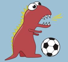 Funny Cartoon Dinosaur Soccer Shirt One Piece - Short Sleeve