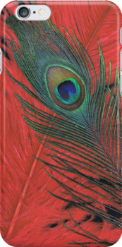 Red Hot Peacock iPhone case by Jessica Manelis