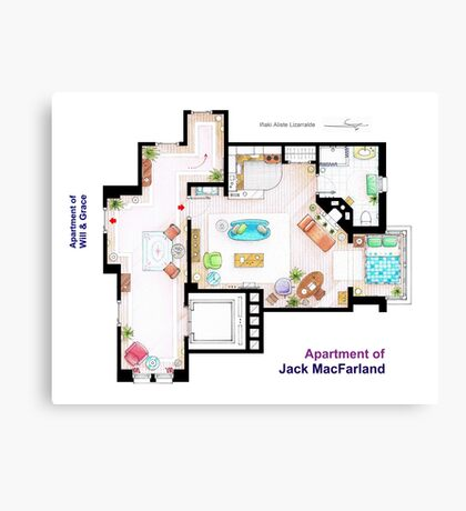 """Jack MacFarland's apartment from """"Will & Grace"""" Canvas Print"""