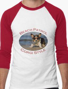 Beach Patrol Corgi Style Men's Baseball ¾ T-Shirt
