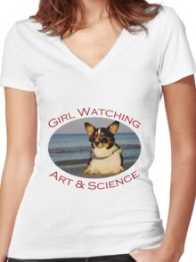 Girl Watching: Art & Science Women's Fitted V-Neck T-Shirt