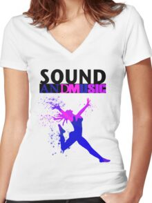 SOUND AND MUSIC Women's Fitted V-Neck T-Shirt