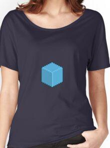 Blue Pixel-Art Cube Women's Relaxed Fit T-Shirt