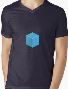 Blue Pixel-Art Cube Mens V-Neck T-Shirt