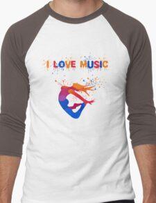 I LOVE MUSIC Men's Baseball ¾ T-Shirt
