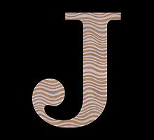 Letter J Metallic Look Stripes Silver Gold Copper by theartofvikki