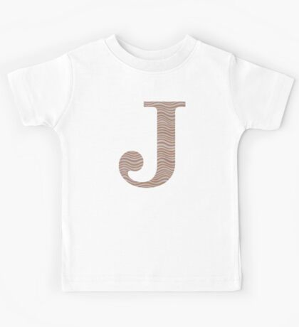 Letter J Metallic Look Stripes Silver Gold Copper Kids Tee