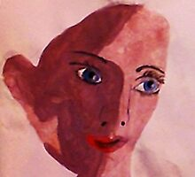 Young girl face, watercolor by Anna  Lewis
