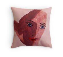 Young girl face, watercolor Throw Pillow