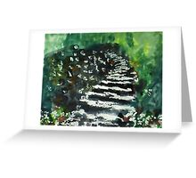 Steps in the garden, watercolor Greeting Card
