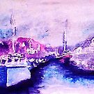 Small fishing harbor , watercolor by Anna  Lewis